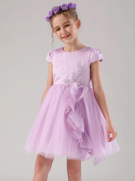 Princess / Ball Gown Medium Length Wedding / Event / Party Flower Girl Dresses - Satin / Tulle Cap Sleeve Jewel Neck With Embroidery / Appliques / Side Draping_7