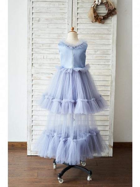 Ball Gown Floor Length Wedding / Birthday Flower Girl Dresses - Satin / Tulle Sleeveless Jewel Neck With Bow(S)_2