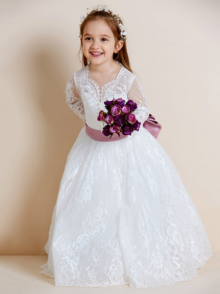 Ball Gown Floor Length Wedding / First Communion Flower Girl Dresses - Lace / Tulle Long Sleeve V Neck With Lace / Sash / Ribbon / Bow(S)_6