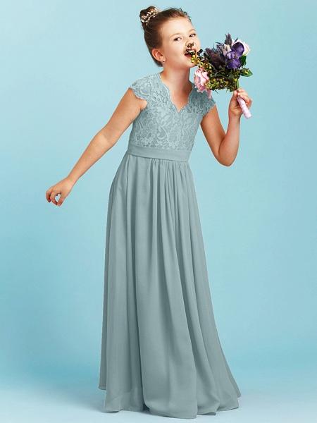 Princess / A-Line V Neck Floor Length Chiffon / Lace Junior Bridesmaid Dress With Sash / Ribbon / Pleats / Wedding Party_12