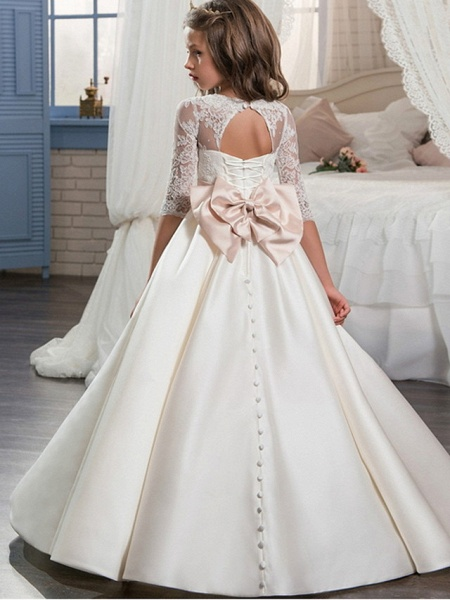 Ball Gown Floor Length Event / Party / Formal Evening Flower Girl Dresses - Polyester 3/4 Length Sleeve Scoop Neck With Lace / Bow(S)_2