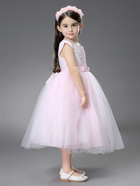 Princess / Ball Gown Ankle Length / Royal Length Train Wedding / Event / Party Flower Girl Dresses - Satin / Tulle Sleeveless Square Neck With Beading / Ruffles / Appliques_4