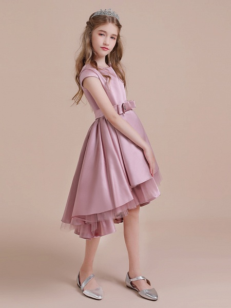 A-Line Asymmetrical Christmas / Birthday / Pageant Flower Girl Dresses - Satin / Tulle Sleeveless Jewel Neck With Side Draping_3