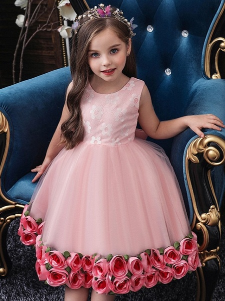 Princess / Ball Gown Knee Length Wedding / Party Flower Girl Dresses - Tulle Sleeveless Jewel Neck With Bow(S) / Pattern / Print / Flower_2
