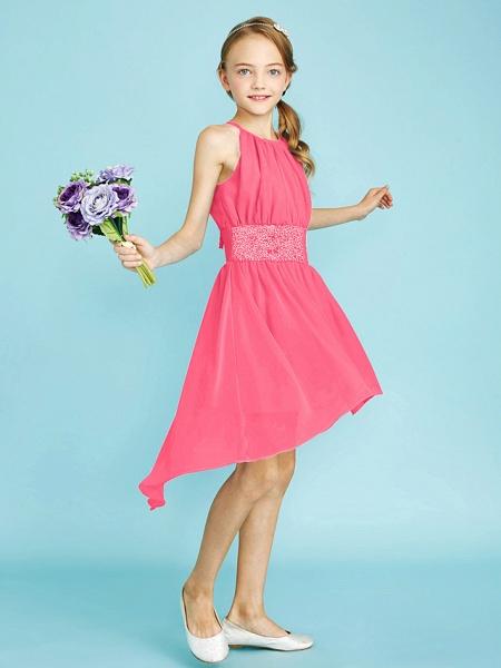 Sheath / Column Jewel Neck Asymmetrical Chiffon Junior Bridesmaid Dress With Sequin / Natural_27