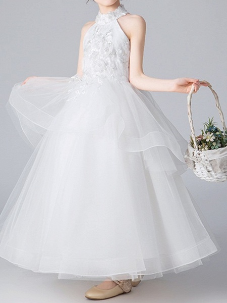 Ball Gown Floor Length Pageant Flower Girl Dresses - Polyester Sleeveless Halter Neck With Appliques_2
