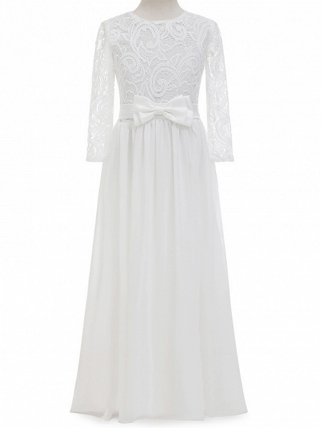 Sheath / Column Long Length Christmas / Wedding / First Communion Flower Girl Dresses - Chiffon / Lace Long Sleeve Jewel Neck With Lace / Bow(S)_4
