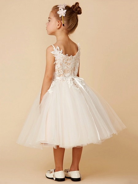 Princess Knee Length Wedding / First Communion Flower Girl Dresses - Lace / Tulle Sleeveless Spaghetti Strap With Crystal / Lace / Sashes / Ribbons_2