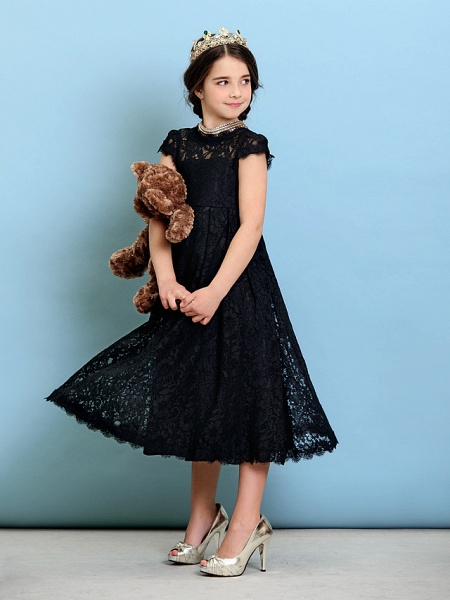 Princess / A-Line Jewel Neck Tea Length Lace Junior Bridesmaid Dress With Pleats / Natural_6