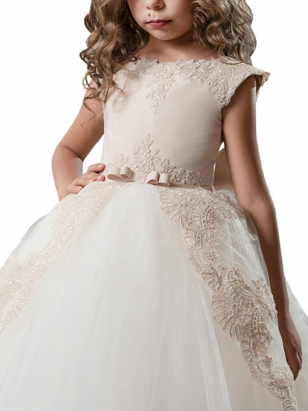 Princess Sweep / Brush Train Wedding / Birthday / Pageant Flower Girl Dresses - Lace / Tulle / Cotton Cap Sleeve Jewel Neck With Lace / Bow(S) / Embroidery_2