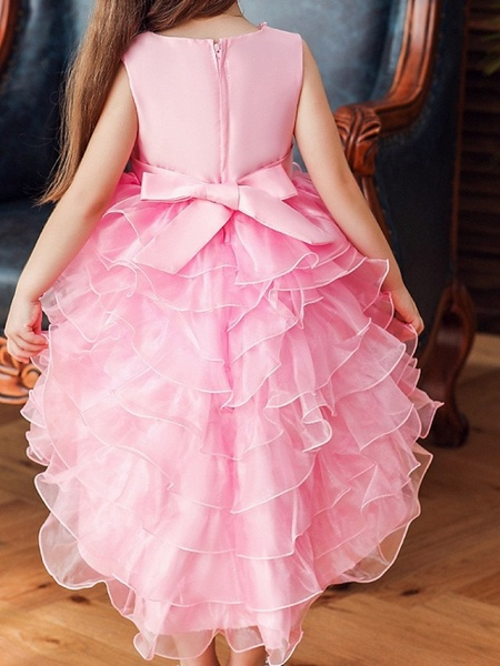 Princess / Ball Gown Knee Length Wedding / Party Flower Girl Dresses - Satin / Tulle Sleeveless Jewel Neck With Bow(S) / Beading / Cascading Ruffles_3