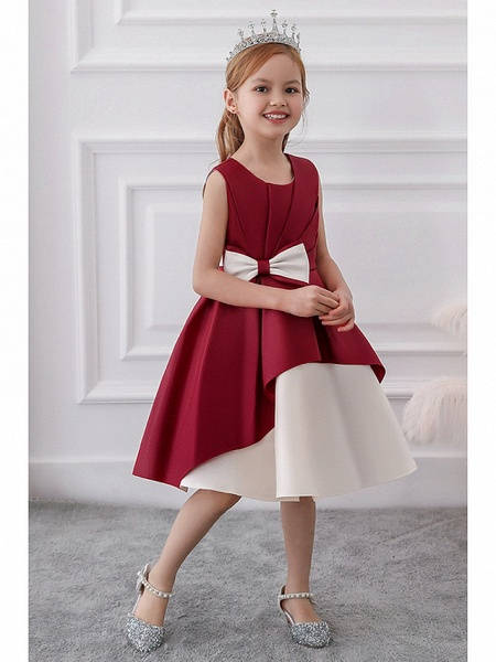 Princess / A-Line Knee Length Wedding / Party Flower Girl Dresses - Mikado Sleeveless Jewel Neck With Bow(S) / Tiered_5