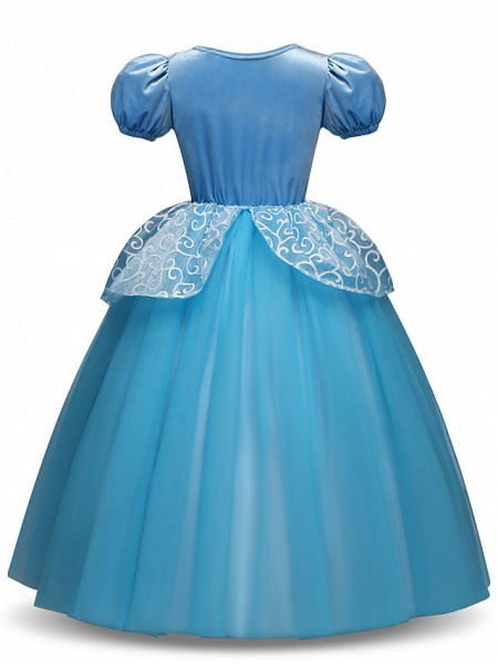 Princess Long Length Party / Birthday / Pageant Flower Girl Dresses - Tulle / Polyester Short Sleeve Jewel Neck With Tier / Appliques_3