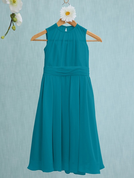 Sheath / Column Jewel Neck Knee Length Chiffon Junior Bridesmaid Dress With Ruched / Natural_25