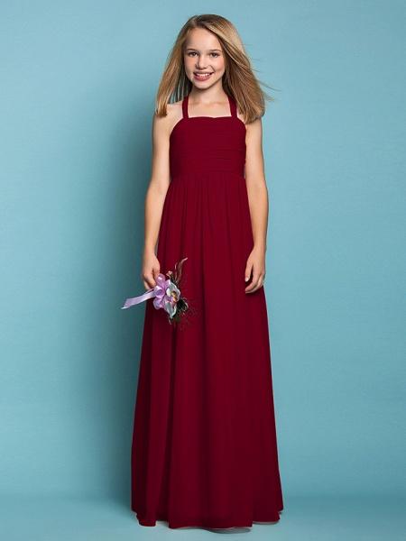 Sheath / Column Halter Neck Floor Length Chiffon Junior Bridesmaid Dress With Ruched / Spring / Summer / Fall / Apple / Hourglass_15