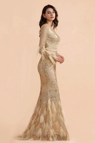 Champange Mermaid Long sleeves V-back Prom Dress_4