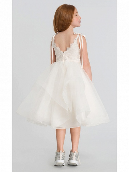A-Line Tea Length Wedding Flower Girl Dresses - Lace / Satin / Tulle Sleeveless Scalloped Neckline With Tier / Solid_5