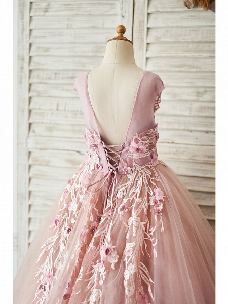 Ball Gown Floor Length Wedding / Birthday Flower Girl Dresses - Lace / Tulle Sleeveless Jewel Neck With Lace / Pearls / Flower_4