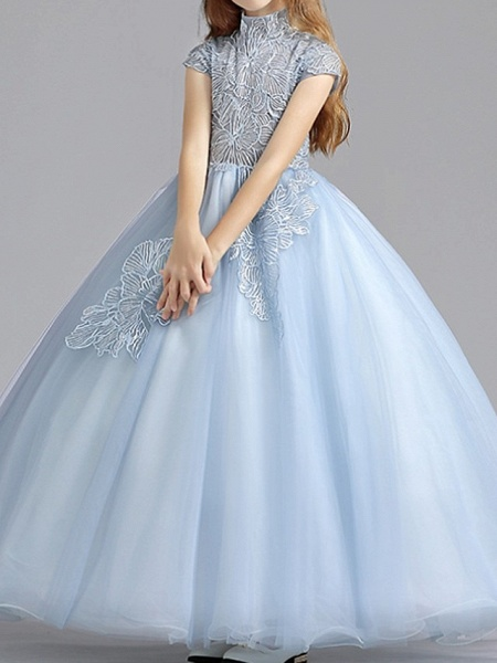 Ball Gown Floor Length Pageant Flower Girl Dresses - Polyester Short Sleeve High Neck With Ruching_1