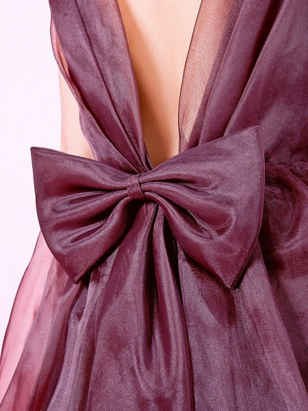 Princess / A-Line Floor Length Wedding Party Organza / Satin Sleeveless Jewel Neck With Bow(S) / Draping / Flower / Spring / Fall / Winter_8