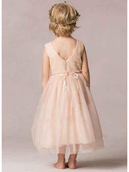 A-Line Ankle Length Wedding / Party Flower Girl Dresses - Tulle / Sequined Sleeveless Jewel Neck With Ruching_3