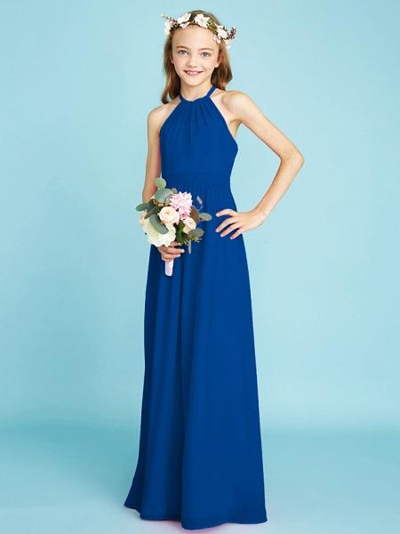 A-Line Halter Neck Floor Length Chiffon Junior Bridesmaid Dress With Sash / Ribbon / Natural_35