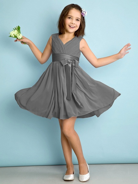 A-Line V Neck Knee Length Chiffon Junior Bridesmaid Dress With Bow(S) / Criss Cross / Natural_24