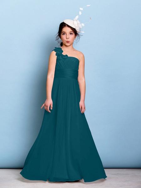 A-Line One Shoulder Floor Length Chiffon Junior Bridesmaid Dress With Sash / Ribbon / Criss Cross / Ruched / Natural_34
