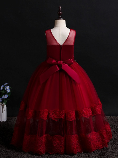 Princess Floor Length Wedding / Birthday Lace / Tulle / Polyester Sleeveless Jewel Neck With Lace / Bow(S) / Pearls_10