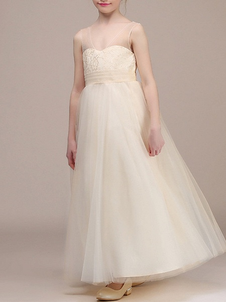 A-Line Ankle Length First Communion Flower Girl Dresses - Chiffon Sleeveless Plunging Neck With Ruching_4
