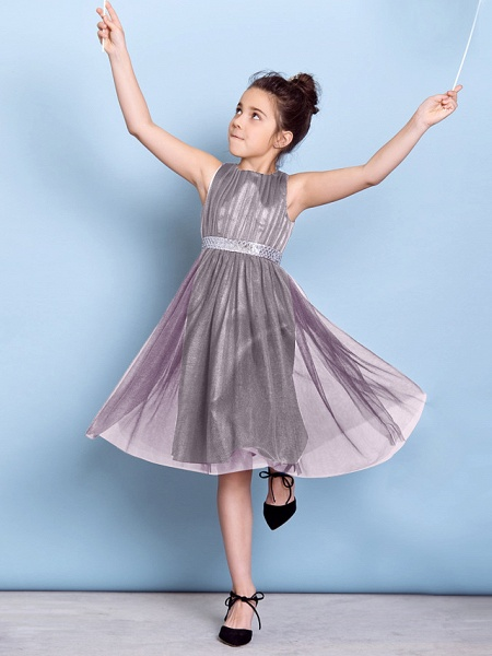 A-Line Jewel Neck Knee Length Tulle Junior Bridesmaid Dress With Sash / Ribbon / Sequin / Draping / Natural_46