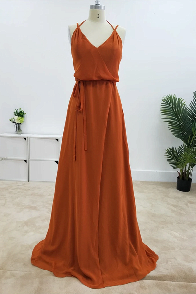 SD2004 Charming A-line Spaghetti Straps Bridesmaid Dresses With Slit_1