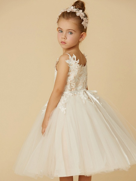 Princess Knee Length Wedding / First Communion Flower Girl Dresses - Lace / Tulle Sleeveless Spaghetti Strap With Crystal / Lace / Sashes / Ribbons_7