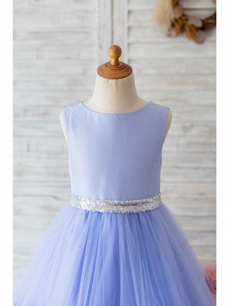Ball Gown Knee Length Wedding / Birthday Flower Girl Dresses - Satin / Tulle Sleeveless Jewel Neck With Belt / Ruffles_3