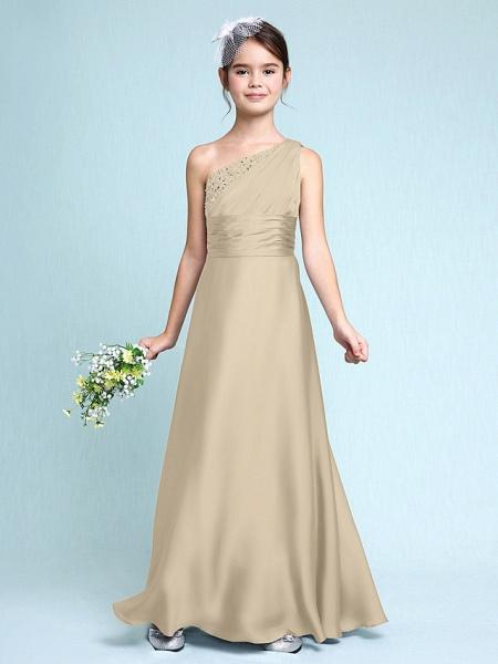 Sheath / Column One Shoulder Floor Length Chiffon Satin Junior Bridesmaid Dress With Ruched / Side Draping / Natural_22