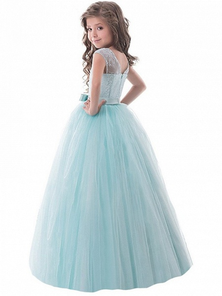 Princess Long Length Party / Birthday / Pageant Flower Girl Dresses - Lace / Tulle Sleeveless Jewel Neck With Lace / Bow(S)_5