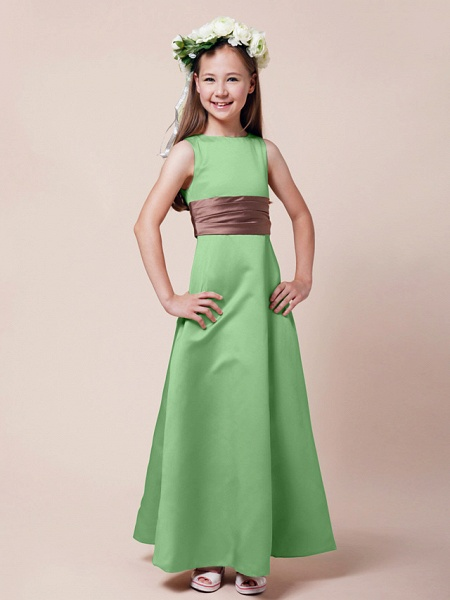 Princess / A-Line Bateau Neck Floor Length Satin Junior Bridesmaid Dress With Sash / Ribbon / Ruched / Spring / Summer / Fall / Winter / Apple_26