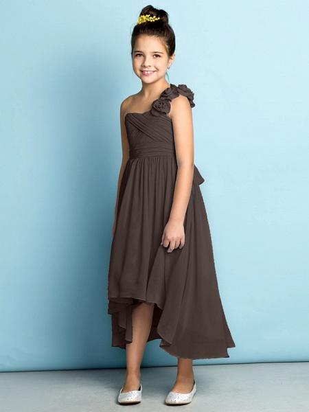 A-Line One Shoulder Asymmetrical Chiffon Junior Bridesmaid Dress With Criss Cross / Flower / Natural / Mini Me_27
