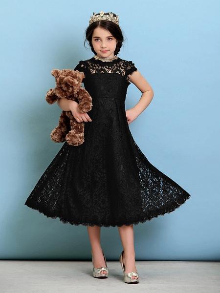 Princess / A-Line Jewel Neck Tea Length Lace Junior Bridesmaid Dress With Pleats / Natural_40
