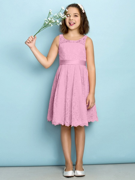 A-Line Scoop Neck Knee Length All Over Floral Lace Junior Bridesmaid Dress With Lace / Natural / Mini Me_10