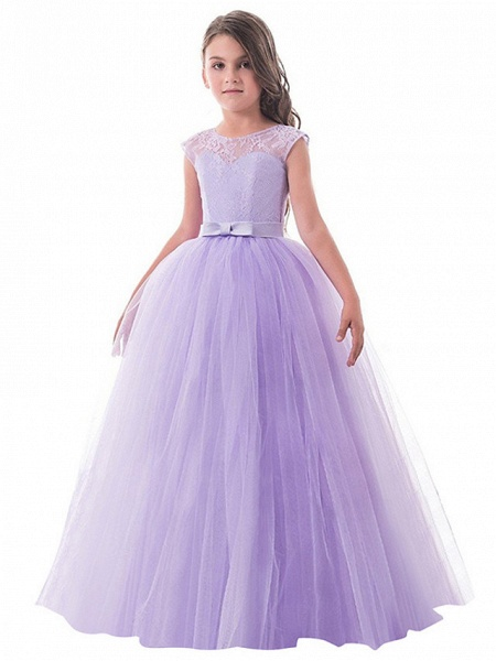 Princess Long Length Party / Birthday / Pageant Flower Girl Dresses - Lace / Tulle Sleeveless Jewel Neck With Lace / Bow(S)_1