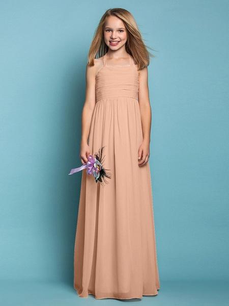Sheath / Column Halter Neck Floor Length Chiffon Junior Bridesmaid Dress With Ruched / Spring / Summer / Fall / Apple / Hourglass_12