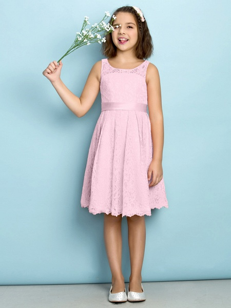 A-Line Scoop Neck Knee Length All Over Floral Lace Junior Bridesmaid Dress With Lace / Natural / Mini Me_9