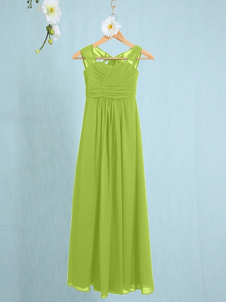 Sheath / Column Straps Ankle Length Chiffon Junior Bridesmaid Dress With Ruched / Natural_25