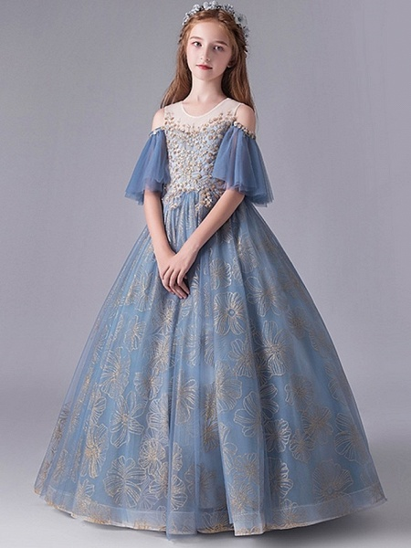 A-Line Floor Length Party / Pageant Flower Girl Dresses - Polyester Half Sleeve Jewel Neck With Paillette_2