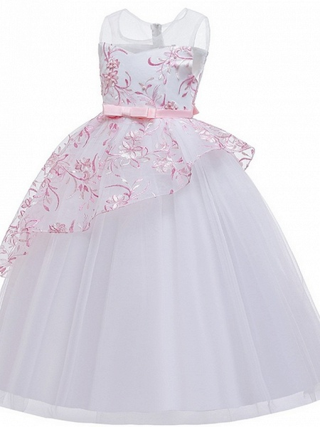Princess / Ball Gown Floor Length Wedding / Party Flower Girl Dresses - Tulle Sleeveless Illusion Neck With Sash / Ribbon / Bow(S) / Embroidery_7