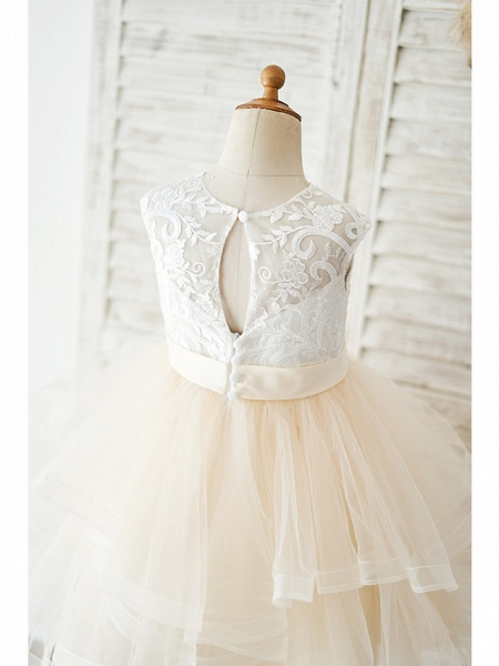 Ball Gown Knee Length Wedding / Birthday Flower Girl Dresses - Lace / Tulle Sleeveless Jewel Neck With Belt / Tiered_4