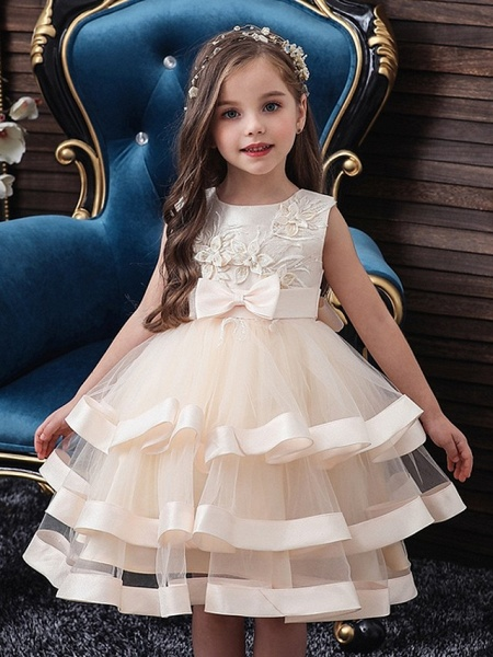 Princess / Ball Gown Knee Length Wedding / Party Flower Girl Dresses - Tulle Sleeveless Jewel Neck With Sash / Ribbon / Bow(S) / Tier_1