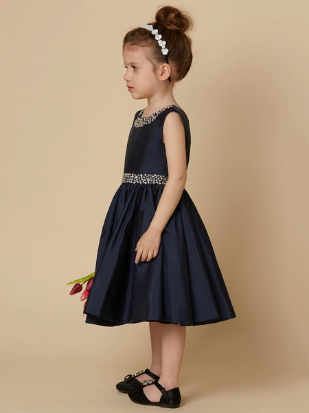 A-Line Knee Length Pageant Flower Girl Dresses - Taffeta Sleeveless Jewel Neck With Beading / Crystal Brooch_3