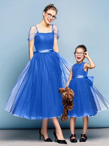 Princess Tea Length Party / Prom / Formal Evening Flower Girl Dresses - Tulle Short Sleeve Square Neck With Bow(S) / Ruched / Elegant_32